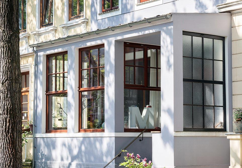 Altbremer Fenster, Glasveranda Bremer Reihenhaus