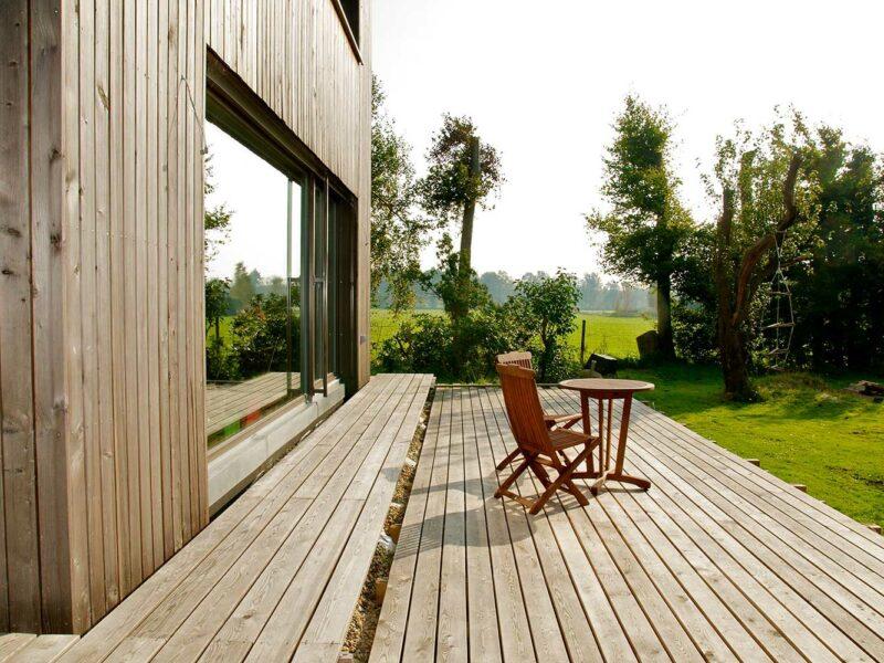 Hausanbau aus Holz, Varel, Terrasse auf der Gartenseite