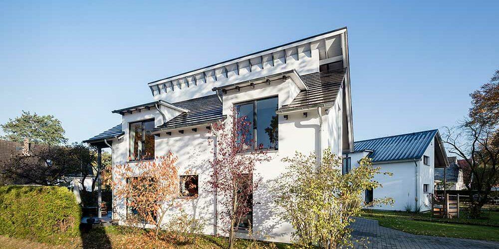 Holzhaus Bremen-Borgfeld, versetztes Pultdach