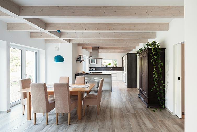 Ökologisches Holzhaus Grasberg, Küchen-Essbereich